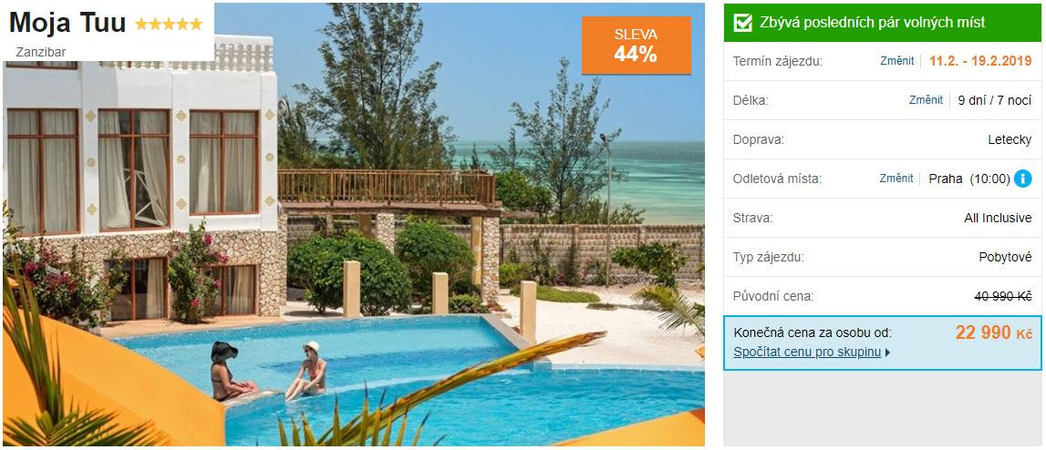 Zanzibar luxusní All Inclusive na 9 dní pobytový zájezd od CK