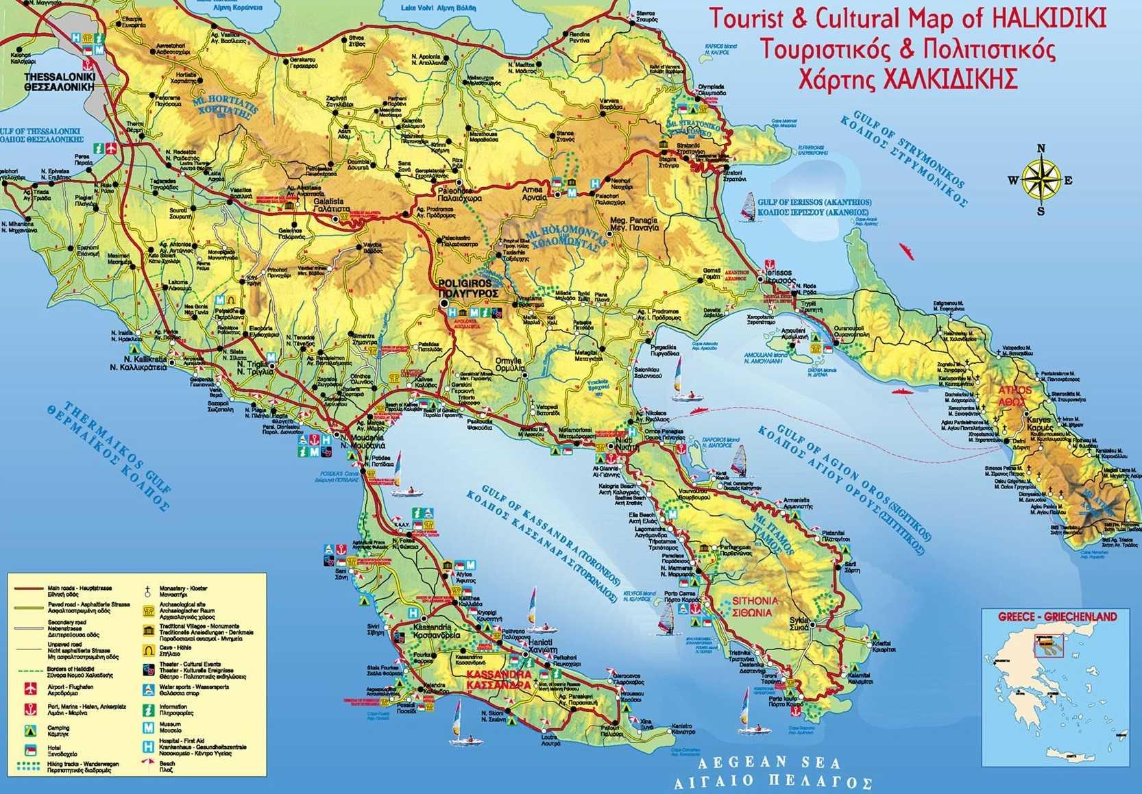 Chalkidiki Mapa Recko Online Mapy Ke Stazeni