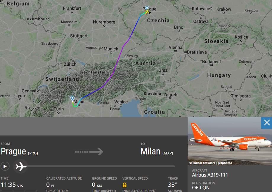Mapa reálného letu z Milána do Prahy