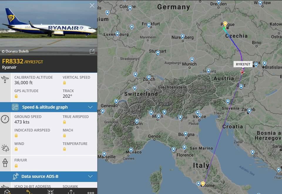 Mapa reálného letu z Prahy do Říma