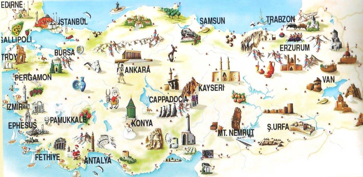 Mapa zajímavých míst k výletům na území Turecka