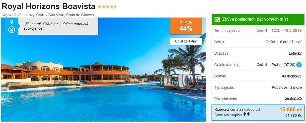 Ostrov Boa Vista krásný hotel na zájezdu u moře
