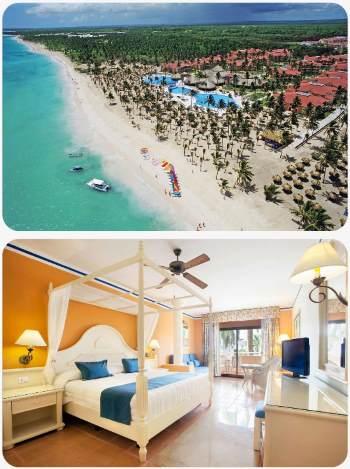 Pláž a hotelový pokoj v resortu Bahia u pobřeží Punta Cana Dominikánská republika
