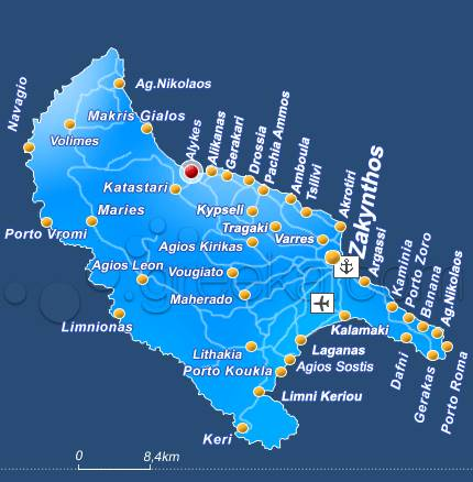Zakynthos Mapa Online Mapy Ke Stazeni A Na Mape