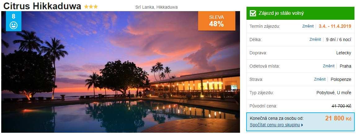Srí Lanka s polopenzí levně v dubnu