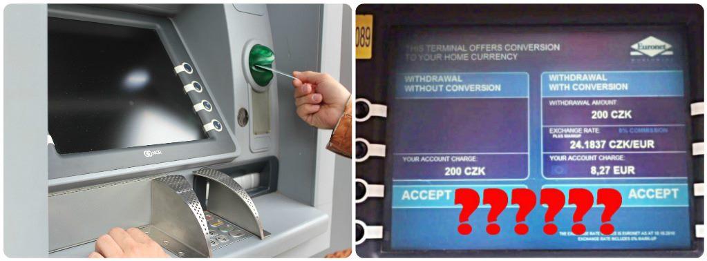 Výběr z bankomatu v zahraničí