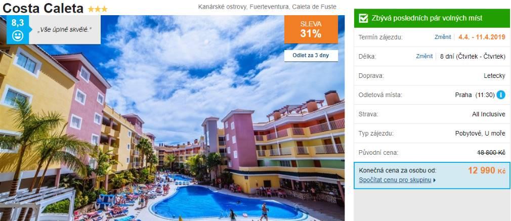 Kanárské ostrovy recenze hotelu Costa Caleta na Fuerteventuře