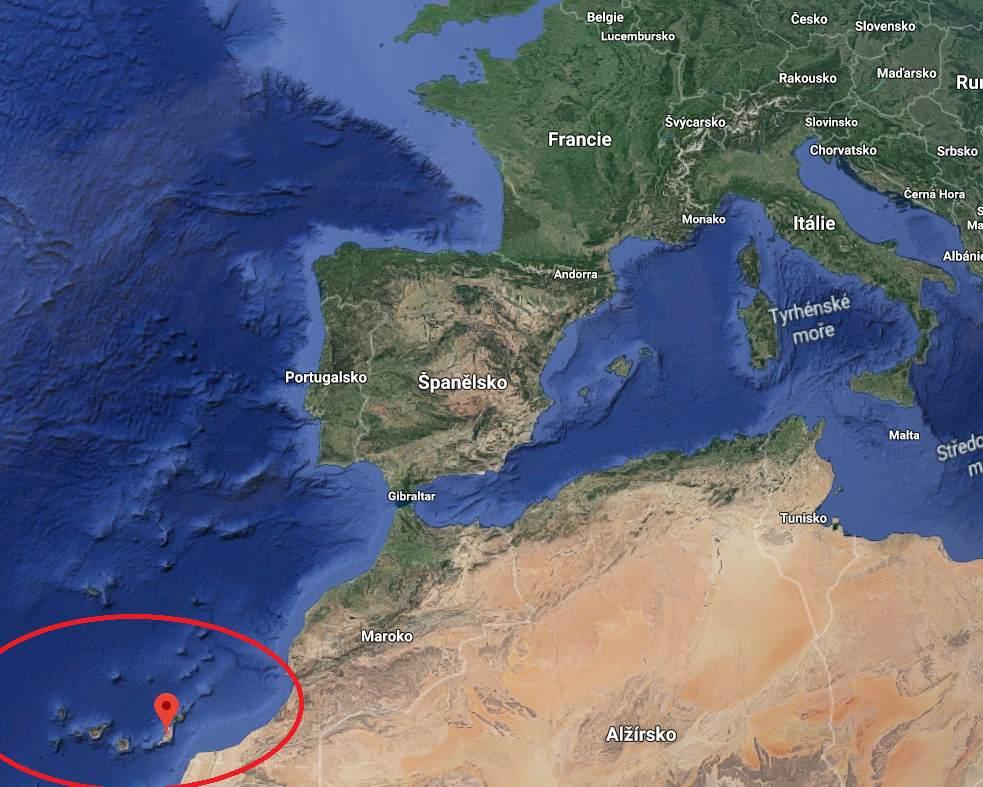 Kde leží Fuerteventura na mapě
