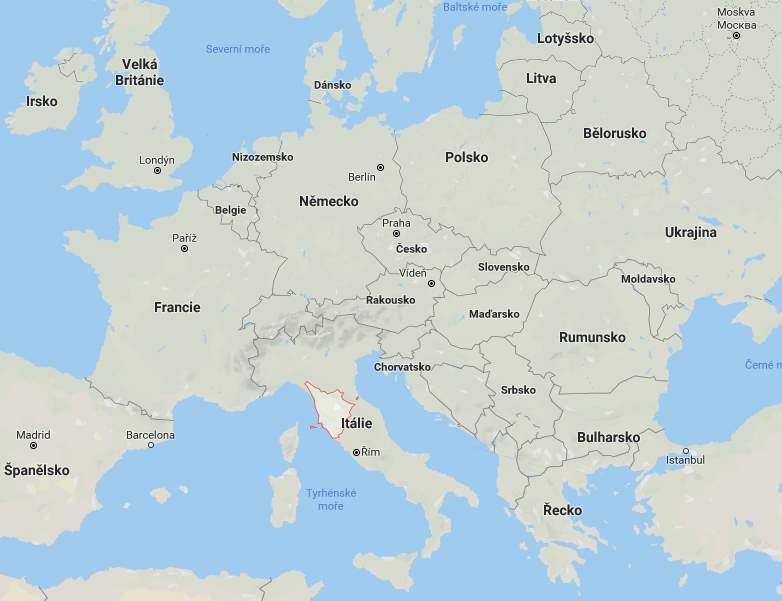 Kde na mapě leží Toskánsko