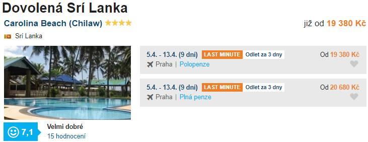 Levná dovolená na Srí Lance Carolina Beach hotel