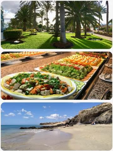 Pláže skvělé jídlo a krásný bazén Pajara Beach na Kanárských ostrovech