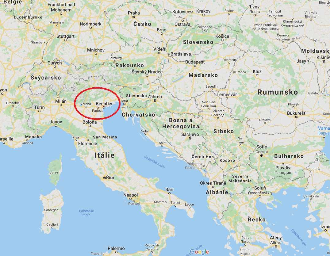 Poloha aneb kde leží Benátky na mapě