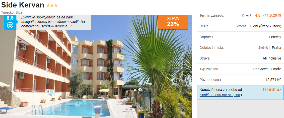 Turecko zájezd do Side se skvěle hodnoceným hotelem