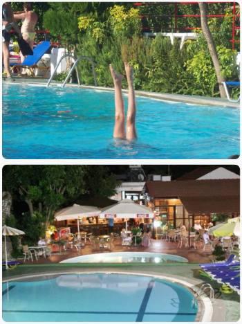 Koupání v bazénu u hotelu v Řecku