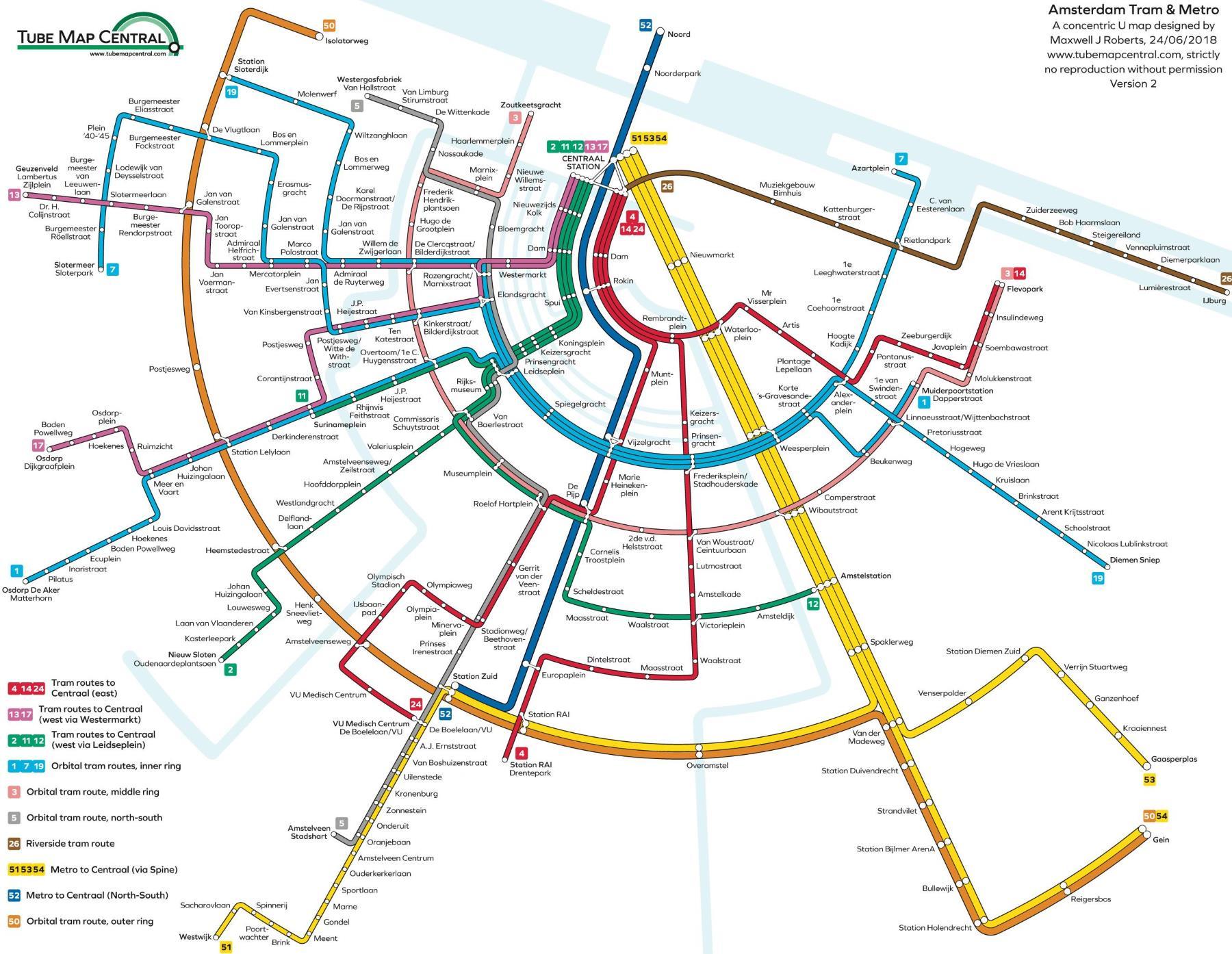 Metro v Amsterdamu plánek a mapa