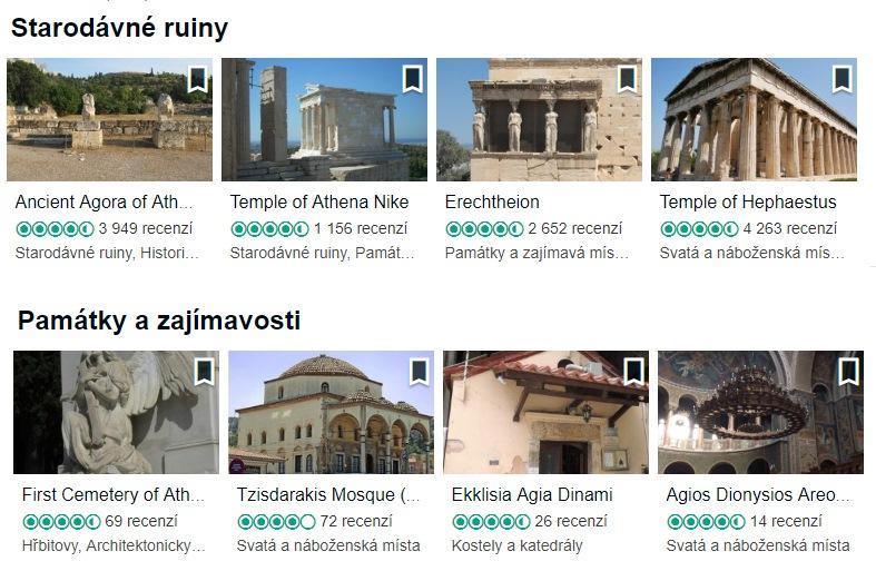 Nejvíce oblíbené památky v Athénách