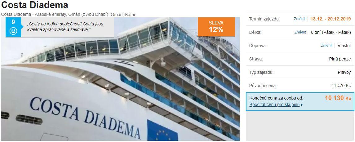 Plavba na lodi Costa Diadema v prosinci Spojené arabské emiráty Omán Katar
