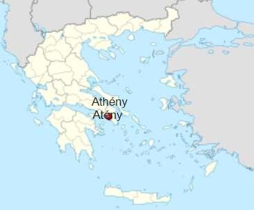 Poloha Athén v rámci Řeckých ostrovů