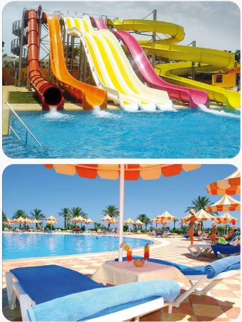 Tobogán aquapark Tunisko červen All Inclusive
