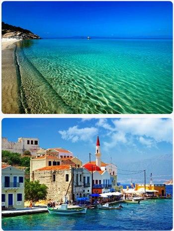 Řecké ostrovy vesnice a kostel v přístavu