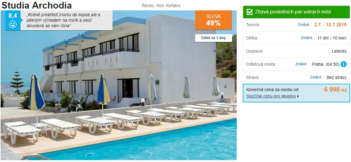 Řecké ostrovy zájezd ostrov Kos dovolená v červenci