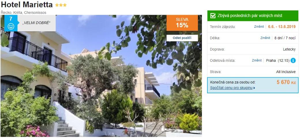 Řecko ostrov Kréta akční zájezd s All Inclusive z Prahy