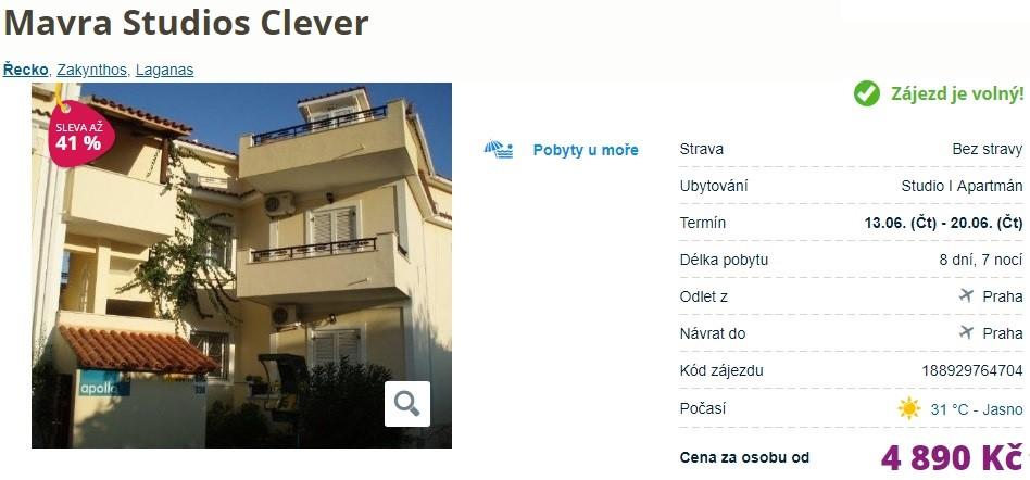 Akční zájezd na Zakynthos Clever oblast Laganas