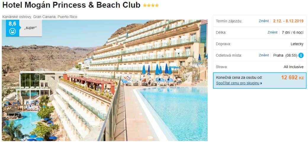 All Inclusive akční zájezd na Gran Canaria hotel Mogan Princess beach club