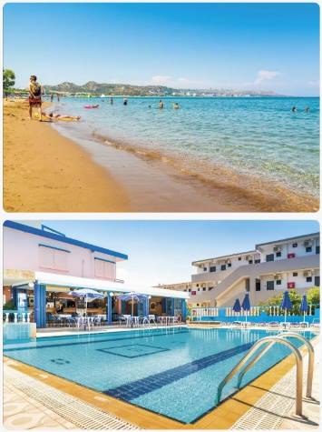 Bazén a moře blízko sebe u hotelu na Rhodosu v oblasti Faliraki