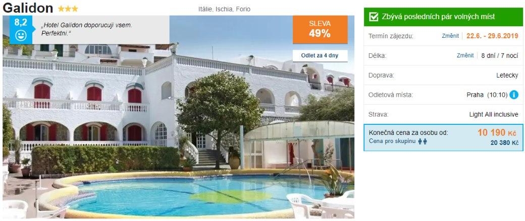 Hotel Gordon na ostrově Ischia v Itálii