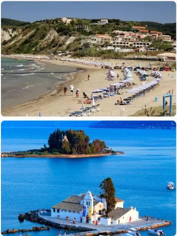 Ostrov Korfu pláž u hotelu a ostrůvek Pontykonisi
