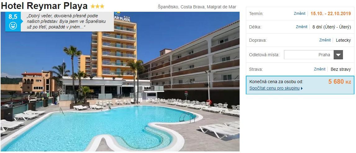 Španělsko dovolená Costa Brava říjen