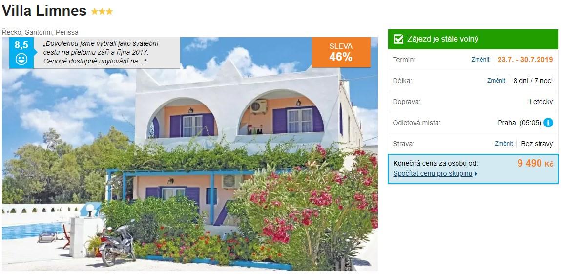 Krásný hotel a ubytování na ostrově Santorini v Řecku