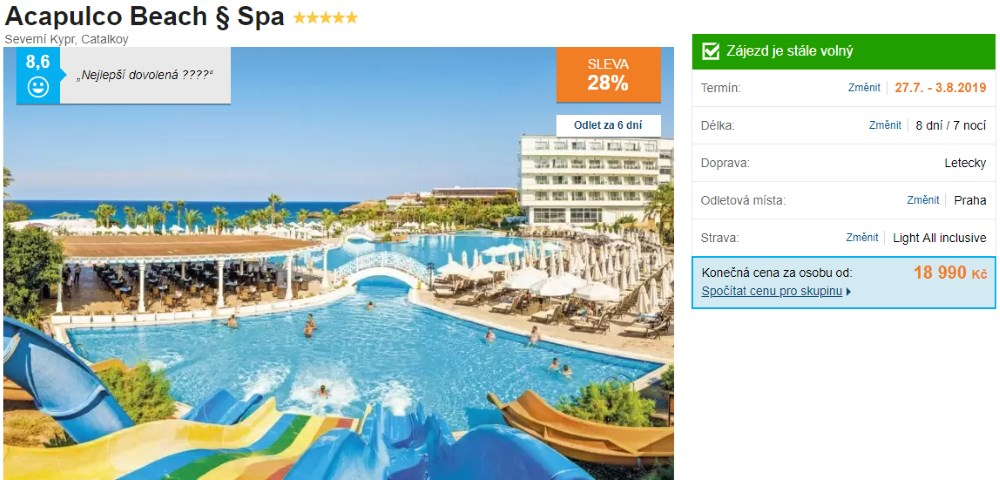 Kypr s Aquaparkem Severní s All Inclusive