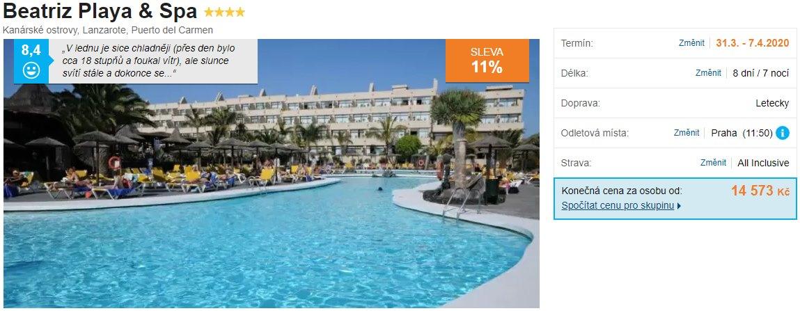 Lanzarote Kanárské ostrovy akční levný zájezd Beatriz Playa hotel