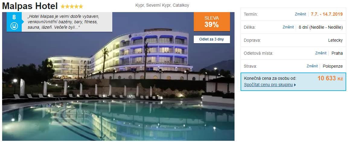 Malpas hotel na Severním Kypru pětihvězdičková polopenze zájezd