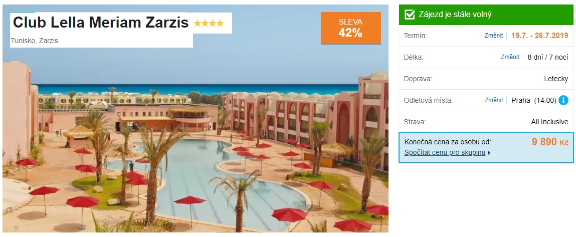Tunisko super last minute zájezd v červenci Zarzis