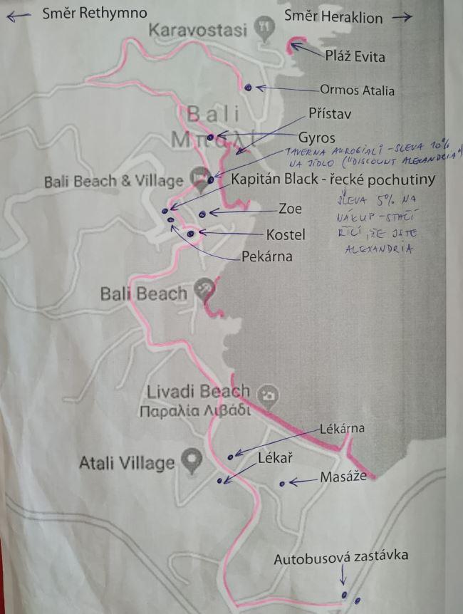 Mapka oblasti kolem hotelu Atali Grand Resort pobřeží na Krétě