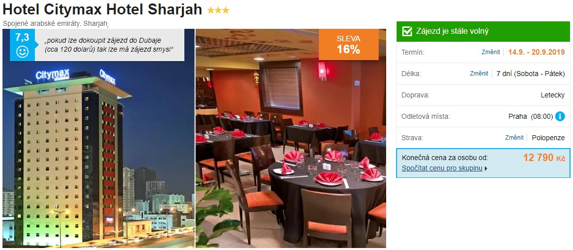 Spojené arabské emiráty Sharjah levný zájezd s polopenzí