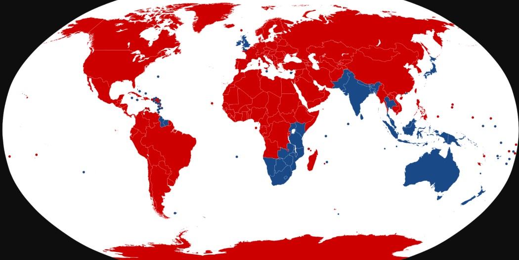 Mapa zemí kde se jezdí vlevo a vpravo
