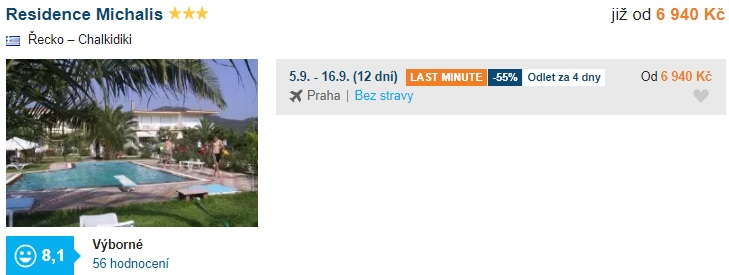 Nejlevnější zájezd do Řecka last minute v září