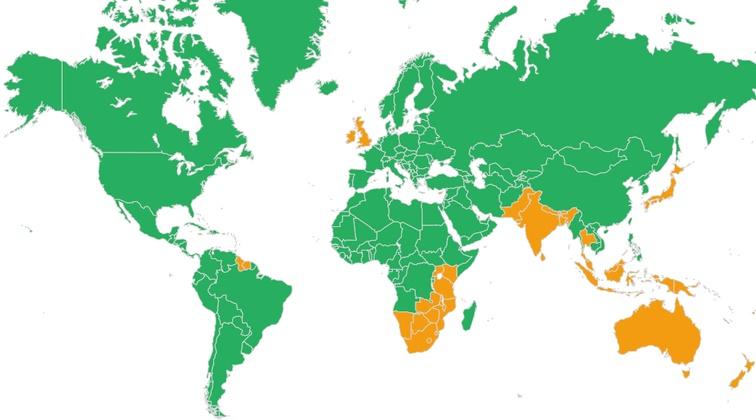 Plánek a mapa planety států kde se jezdí vlevo a vpravo