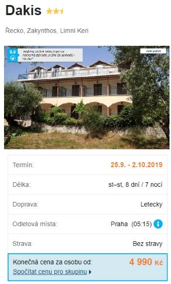 Super last minute na přelomu září a října Řecko ostrov Zakynthos