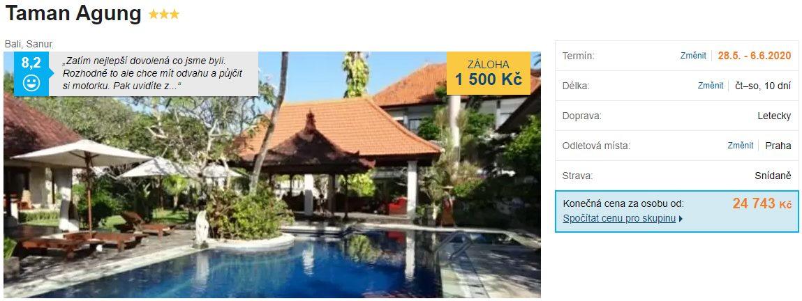 Akční zájezd na ostrov Bali v Indonésii