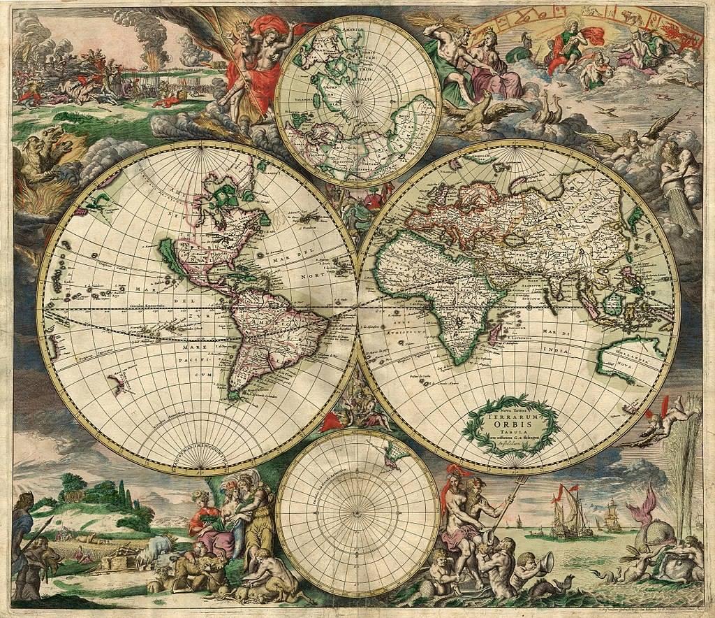 Historická mapa světa z roku 1689