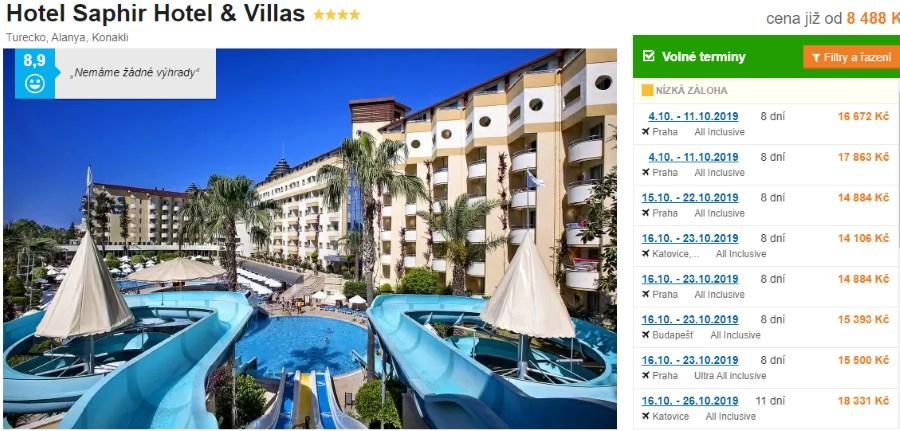 Hotel Saphir and Villas v Turecku recenze