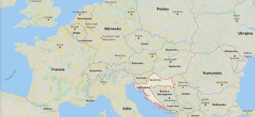 Kde leží Chorvatsko na mapě Evropy