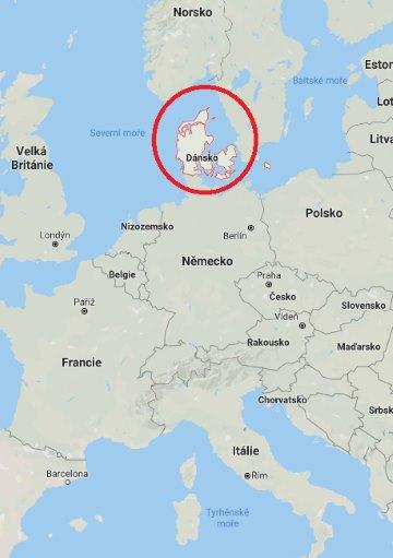 Kde na mapě Evropy leží Dánsko