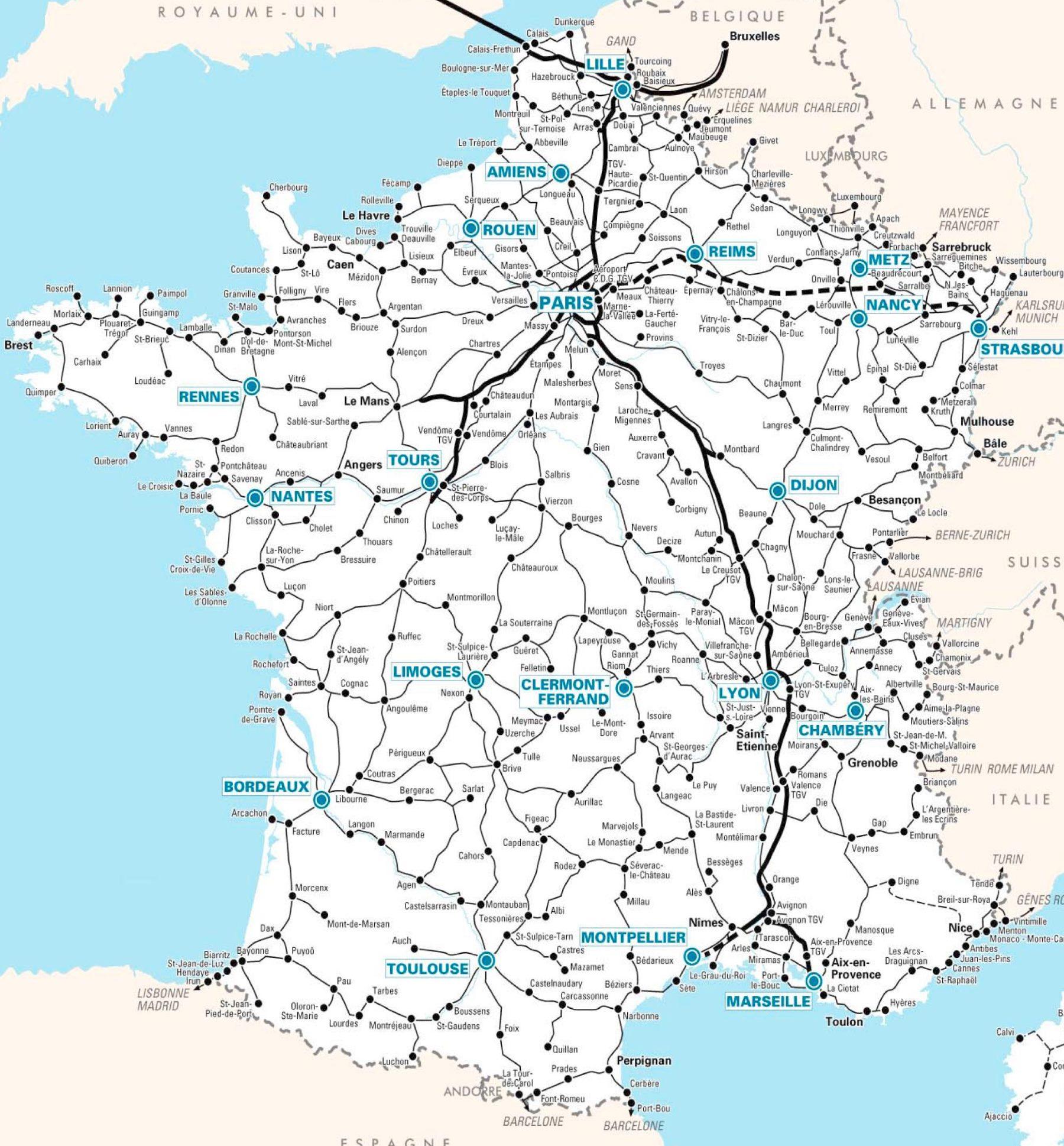 Mapa Francie Mesta Sousedni Staty Dle Regionu