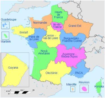 Mapa Francie a její regiony